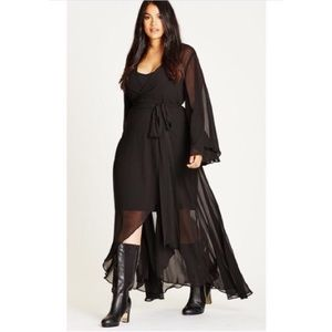 City Chic Fleetwood Wrap Maxi Dress Bell Sleeve 16